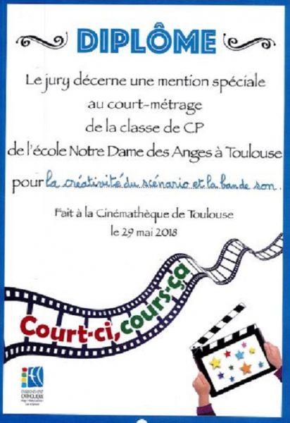 """La participation des élèves de CP au Festival """"Court-ci cours-çà 2018"""" a été récompensé du prix de la créativité du scénario et de la meilleure bande son."""